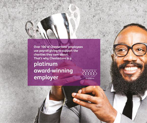 Chestertons winning Platinum Payroll Giving Quality Mark image