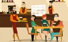 Serving burgers in restaurant image