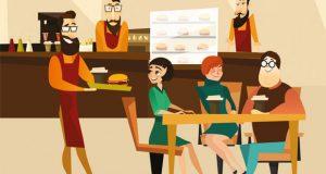 Serving burgers in restaurant image