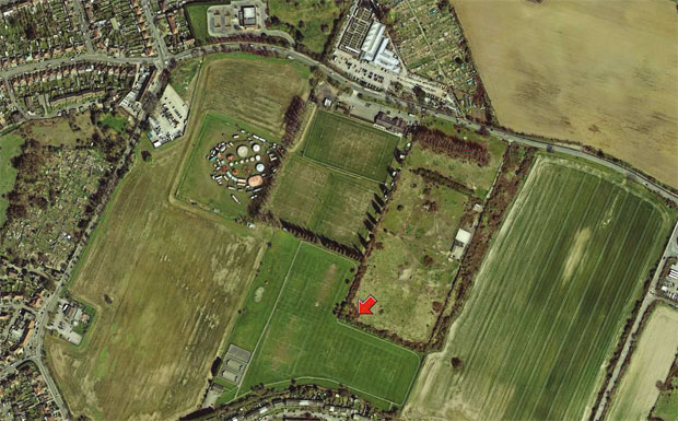 Aerial view of auctioned land in Feltham