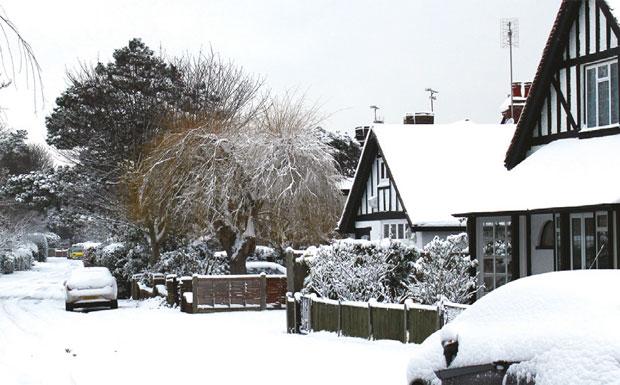 Snow on street image