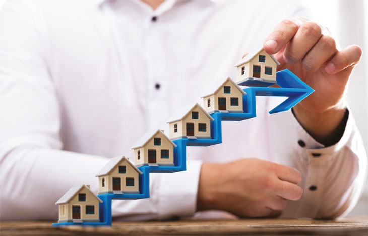 Stacking houses on arrow image