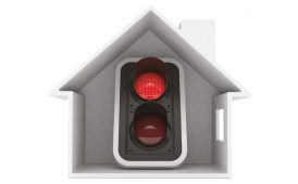 Red traffic light in house image