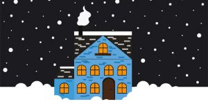 Merry Christmas house in snow image