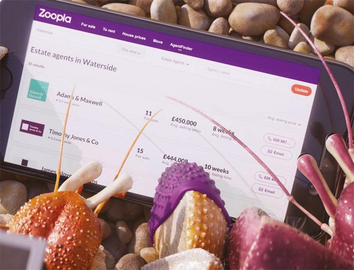 Zoopla's AgentFinder on tablet image