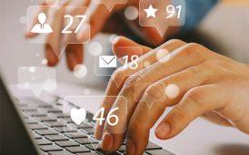 Social media tapping keyboard image
