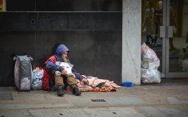 Homeless man image