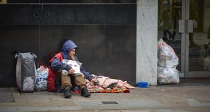Homeless man image