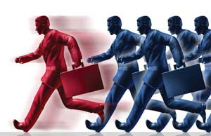 men rushing with briefcases image