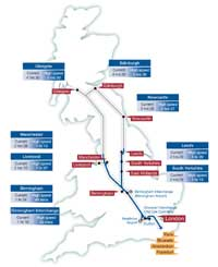 High Speed 2 journey time map