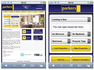 Parkets' mobile optimised website image