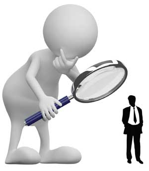 man under magnified glass image